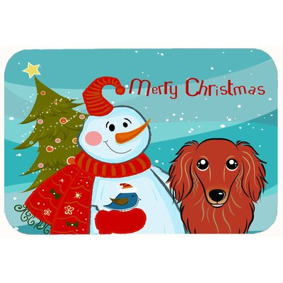 Snowman with Longhair Dachshund Kitchen/Bath Mat Size: 20 W x 30 L, Color: Red
