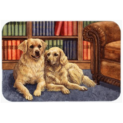 Retrievers in the Library Kitchen/Bath Mat Size: 24 W x 36 L