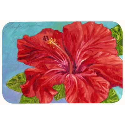 Red Hibiscus Kitchen/Bath Mat Size: 24 W x 36 L