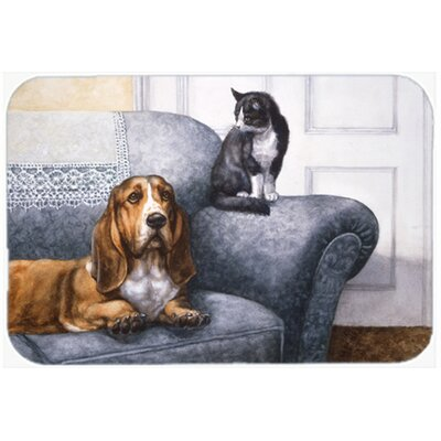 Basset Hound and Cat on Couch Kitchen/Bath Mat Size: 20