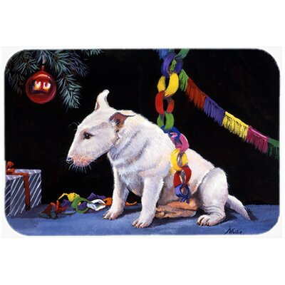 Bull Terrier under the Christmas Tree Kitchen/Bath Mat Size: 20 W x 30 L