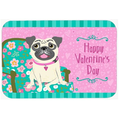 Happy Valentines Day Pug Kitchen/Bath Mat Size: 24 W x 36 L