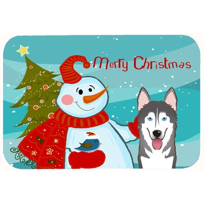 Snowman with Alaskan Malamute Kitchen/Bath Mat Size: 24 W x 36 L