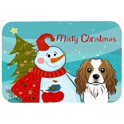 Snowman with Cavalier Spaniel Kitchen/Bath Mat Size: 20 W x 30 L