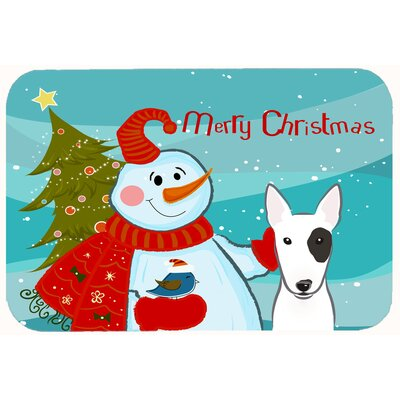 Snowman with Bull Terrier Kitchen/Bath Mat Size: 24 W x 36 L