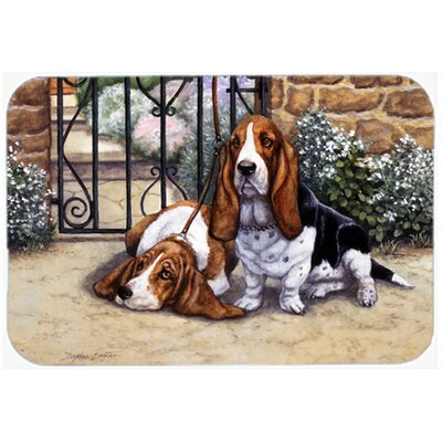 Basset Hound at the Gate Kitchen/Bath Mat Size: 24 W x 36 L