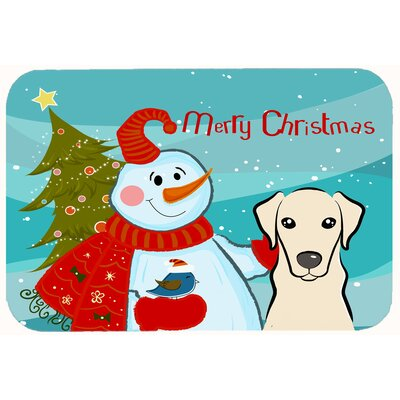 Snowman with Labrador Kitchen/Bath Mat Color: Cream, Size: 20 W x 30 L