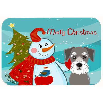 Snowman with Schnauzer Kitchen/Bath Mat Size: 20