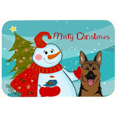Snowman with German Shepherd Kitchen/Bath Mat Size: 24 W x 36 L