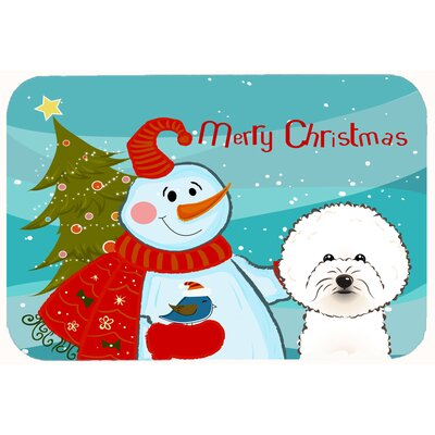 Snowman with Bichon Frise Kitchen/Bath Mat Size: 24 W x 36 L