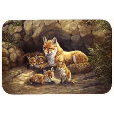 Family Foxes by the Den Kitchen/Bath Mat Size: 24 W x 36 L