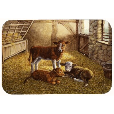 Cows Calves in the Barn Kitchen/Bath Mat Size: 24 W x 36 L