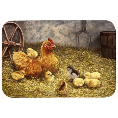 Chicken Hen and Her Chicks Kitchen/Bath Mat Size: 24 W x 36 L