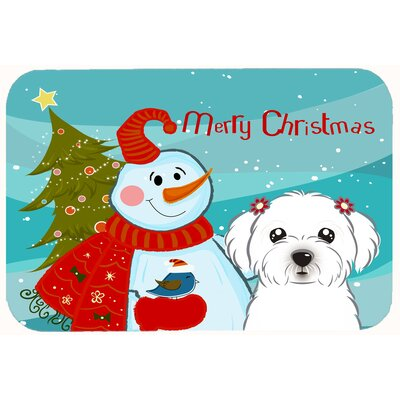Snowman with Maltese Kitchen/Bath Mat Size: 20 W x 30 L