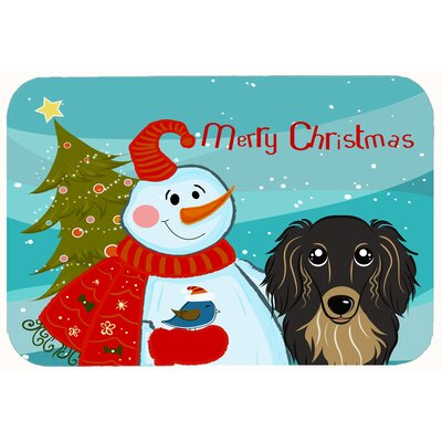 Snowman with Longhair Dachshund Kitchen/Bath Mat Size: 24 W x 36 L, Color: Black