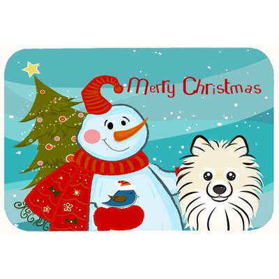 Snowman with Pomeranian Kitchen/Bath Mat Size: 24 W x 36 L