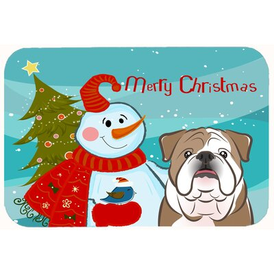 Snowman with English Bulldog Kitchen/Bath Mat Size: 20 W x 30 L, Color: Brown