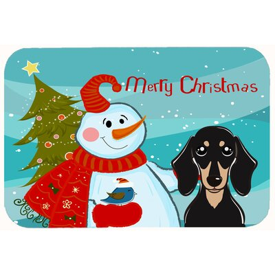 Snowman with Smooth Dachshund Kitchen/Bath Mat Size: 24 W x 36 L