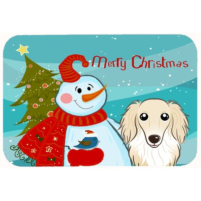 Snowman with Longhair Dachshund Kitchen/Bath Mat Size: 20 W x 30 L, Color: Cream