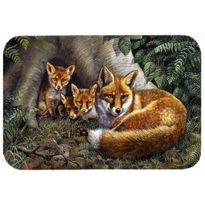 A Family of Foxes at Home Kitchen/Bath Mat Size: 24 W x 36 L