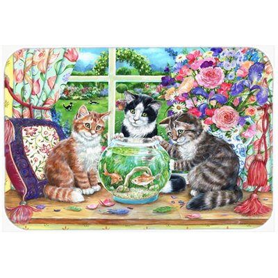 Cats Just Looking in the Fish Bowl Kitchen/Bath Mat Size: 24 W x 36 L