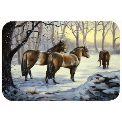 Horses in Snow by Daphne Baxter Kitchen/Bath Mat Size: 20 W x 30 L