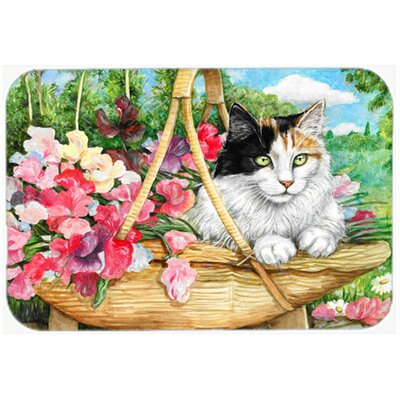 Cat in Basket Kitchen/Bath Mat Size: 24 W x 36 L