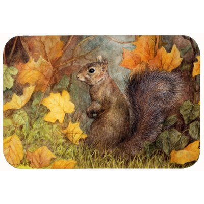 Squirrel in Fall Leaves Kitchen/Bath Mat Size: 20 W x 30 L