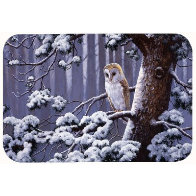 Owl on a Tree Branch in the Snow Kitchen/Bath Mat Size: 20 W x 30 L