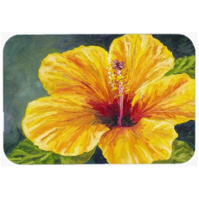 Gold Hibiscus Kitchen/Bath Mat Size: 24 W x 36 L