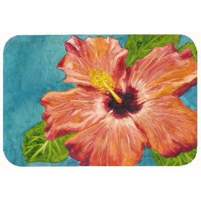 Brown Hibiscus  Kitchen/Bath Mat Size: 24 W x 36 L