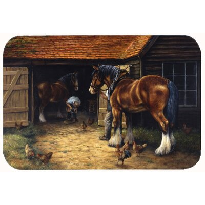 Horse and The Blacksmith by Daphne Baxter Kitchen/Bath Mat Size: 24 W x 36 L