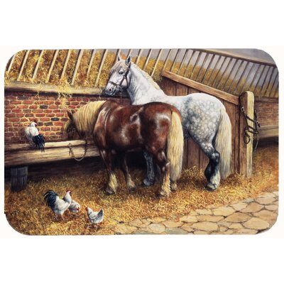 Horses Eating with the Chickens Kitchen/Bath Mat Size: 24 W x 36 L