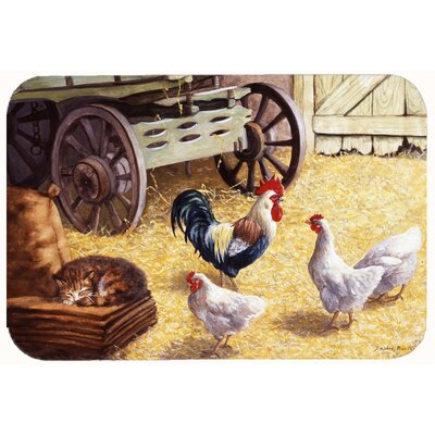 Rooster and Hens Chickens in the Barn Kitchen/Bath Mat Size: 20 W x 30 L