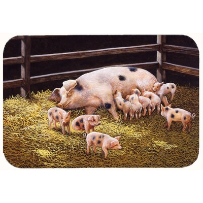 Jonah Pigs Piglets at Dinner Time Kitchen/Bath Mat Size: 24 W x 36 L