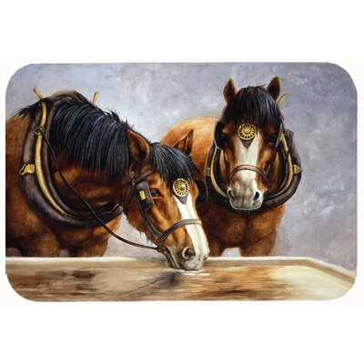 Horses Taking a Drink of Water Kitchen/Bath Mat Size: 24 W x 36 L