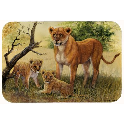 Lion and Cubs by Daphne Baxter Kitchen/Bath Mat Size: 24 W x 36 L