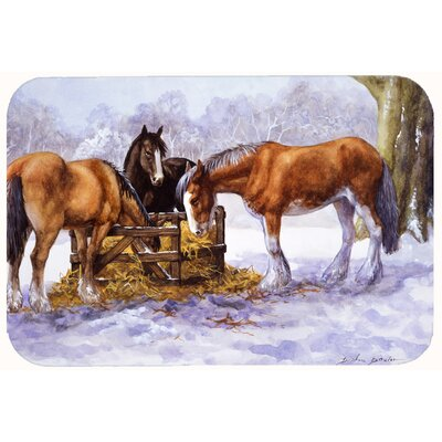 Horses Eating Hay in the Snow Kitchen/Bath Mat Size: 24 W x 36 L