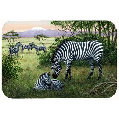 Zebras in the Field with Baby Kitchen/Bath Mat Size: 24 W x 36 L