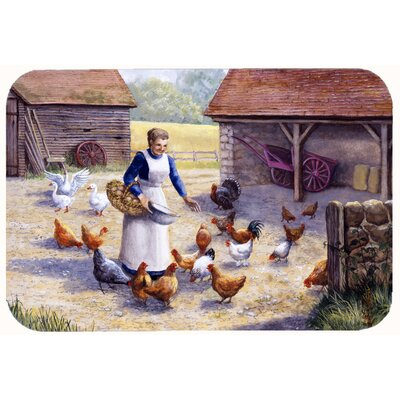 Levi Chicken Hen Feeding Time Kitchen/Bath Mat Size: 24 W x 36 L