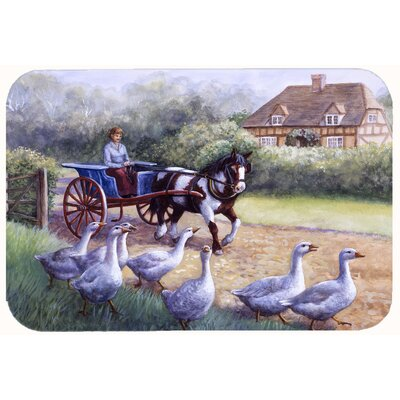 Geese Crossing before the Horse Kitchen/Bath Mat Size: 20 W x 30 L