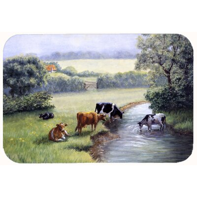 Cows Drinking at the Creek Bank Kitchen/Bath Mat Size: 24 W x 36 L