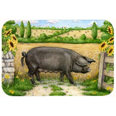 Jonah Pig with Sunflowers Kitchen/Bath Mat Size: 24 W x 36 L