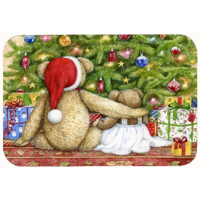 Christmas Teddy Bears with Tree Kitchen/Bath Mat Size: 24 W x 36 L