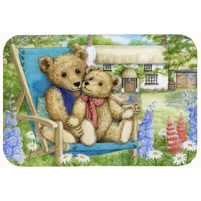 Justin Teddy Bears in Flowers Kitchen/Bath Mat Size: 20 W x 30 L