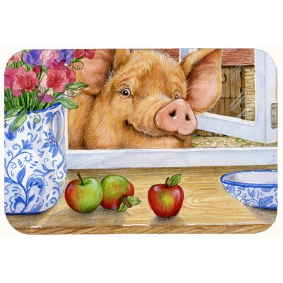 Jonah Pig Trying to Reach the Apple in the Window Kitchen/Bath Mat Size: 24 W x 36 L