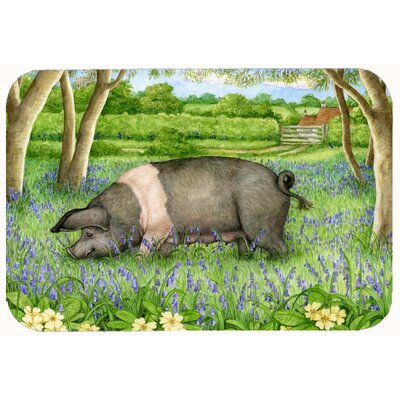 Jonah Pig in Bluebells by Debbie Cook Kitchen/Bath Mat Size: 24 W x 36 L