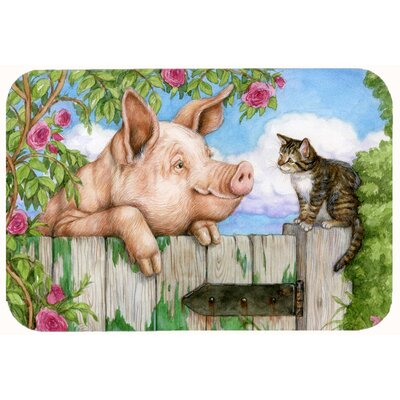 Jonah Pig at the Gate with the Cat Kitchen/Bath Mat Size: 20 W x 30 L