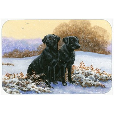 Labradors in the Snow Kitchen/Bath Mat Size: 24 W x 36 L