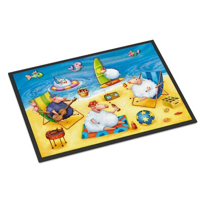 Party Pigs on the Beach Doormat Mat Size: Rectangle 2 x 3
